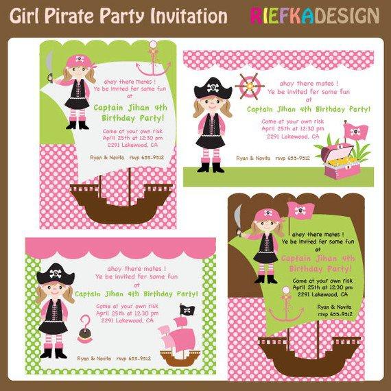 Blank Pirate Birthday Invitations