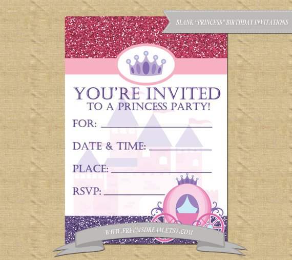 Blank Princess Invitations