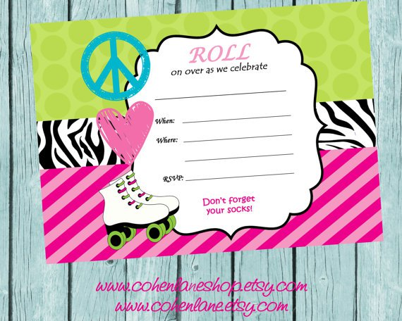 Blank Printable Skating Invitations
