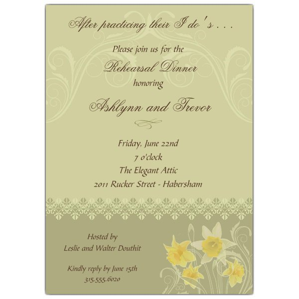 Blank Rehearsal Dinner Invitations