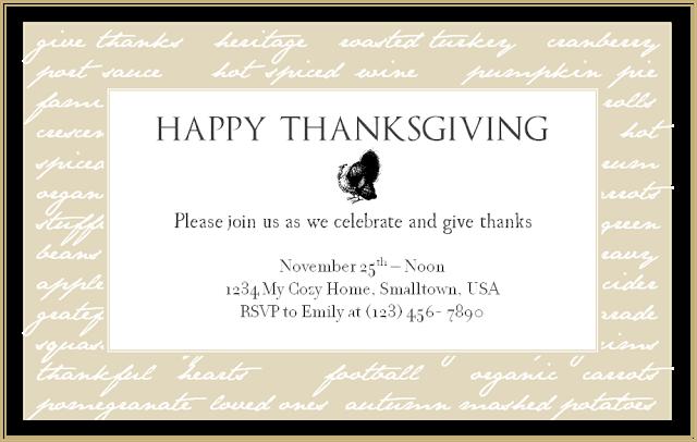 Blank Thanksgiving Dinner Invitations