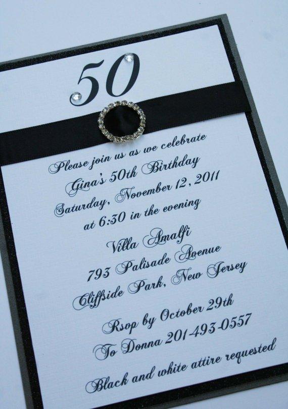 Bling 50th Birthday Invitations