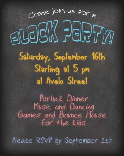Block Party Invitation Samples