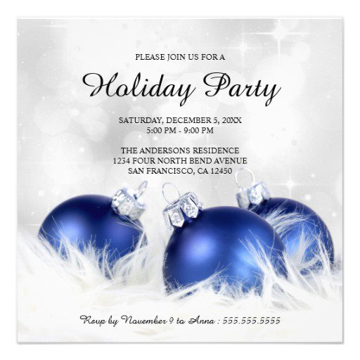 Blue And Silver Christmas Invitation Templates