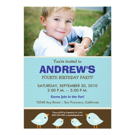 Blue Birthday Invitations