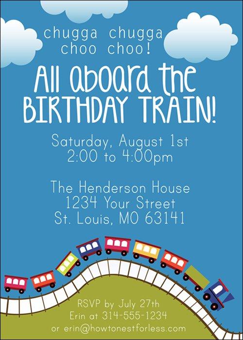 Blue Birthday Party Invitations Blank