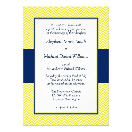 Blue Chevron Wedding Invitations