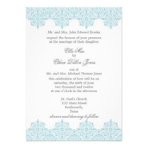Blue Damask Wedding Invitations