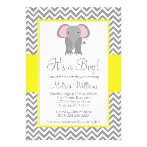 Blue Elephant Baby Shower Invitations Printable