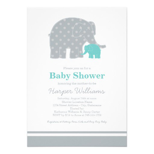 Blue Gray Elephant Baby Shower Invitations