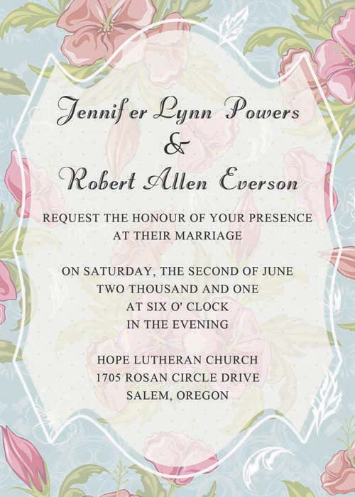 Blue Spring Wedding Invitations