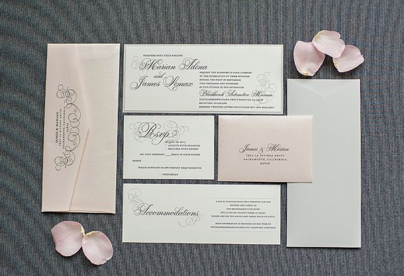 Blush And Gray Wedding Invitations
