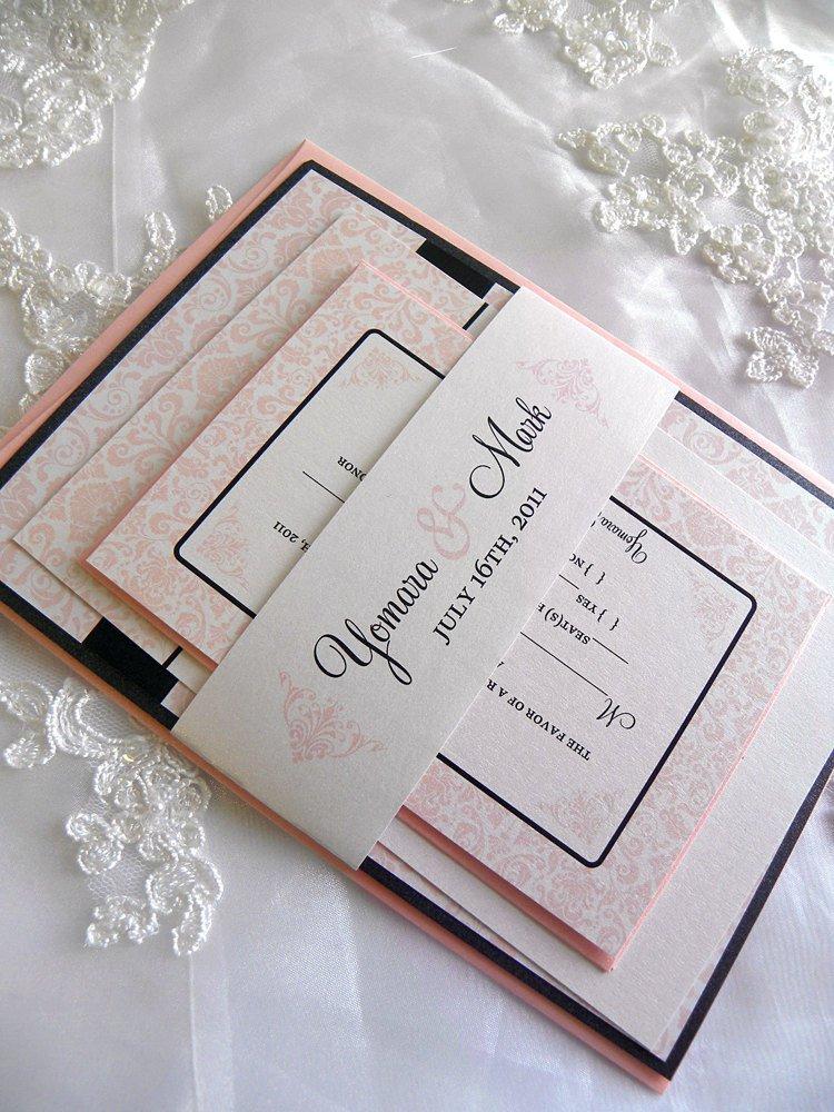 Blush Black And White Invitations
