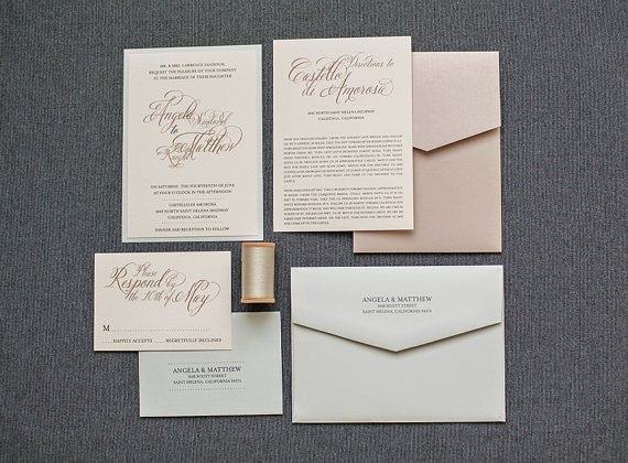 Blush Pink And Champagne Wedding Invitations