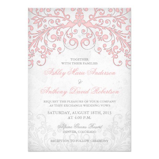 Blush Pink And Gray Wedding Invitations