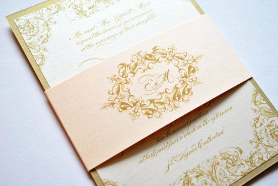 Blush Vintage Wedding Invitation