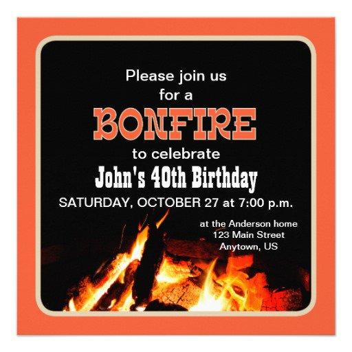 Bonfire Birthday Invitations Templates