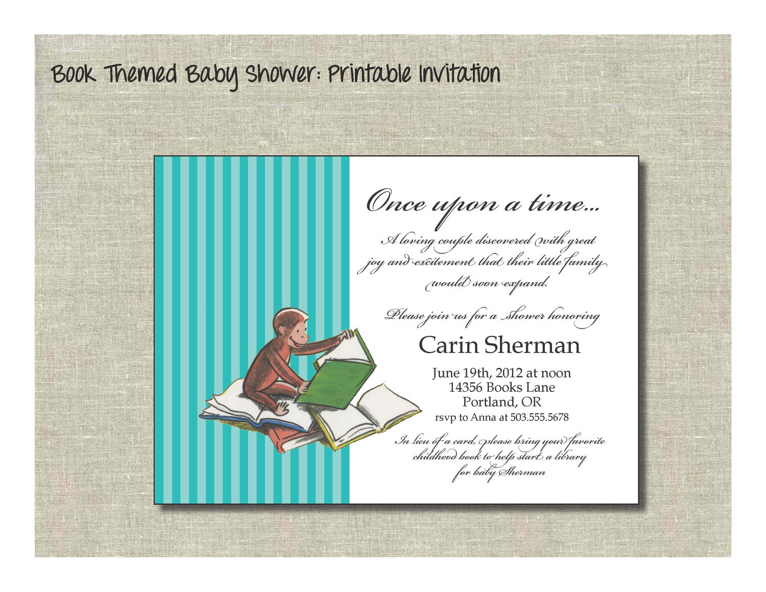 Book Themed Baby Shower Invitation Wording