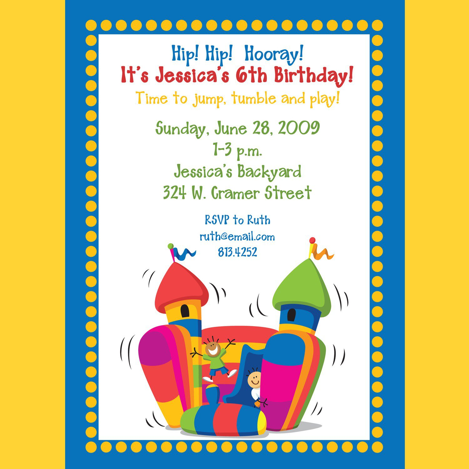 Bounce Birthday Party Invitation Wording