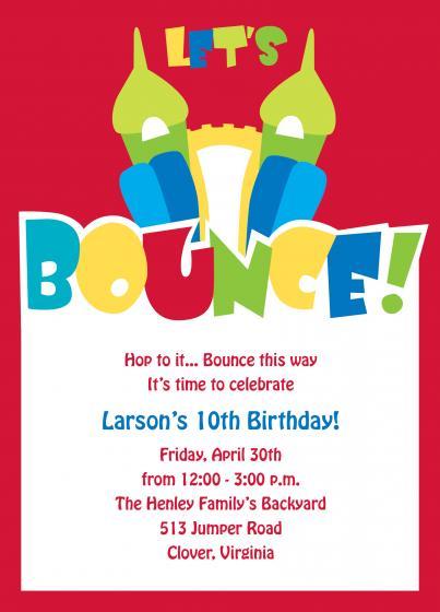 Bounce House Birthday Party Invitation Wording