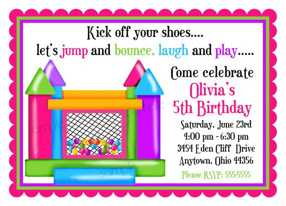 Bounce House Party Invitation Wording