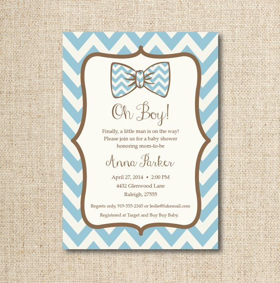 Bow Tie Baby Shower Invitations Free
