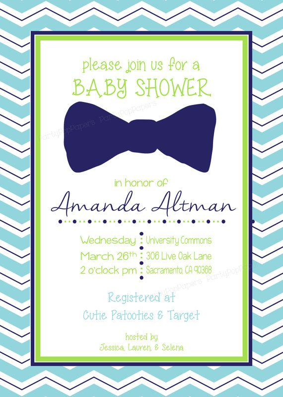 Bow Tie Baby Shower Invitations Printable