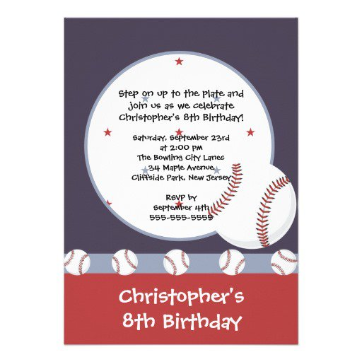 Boy 1st Birthday Baseball Invitations