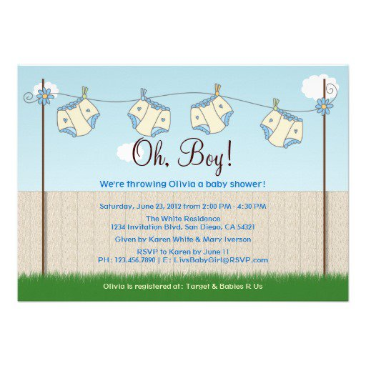 Boy Clothesline Shower Invitation