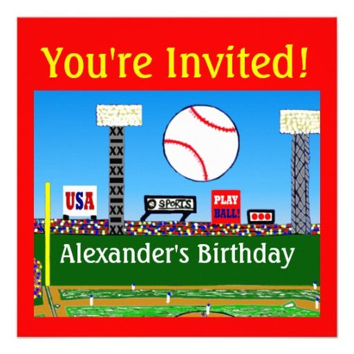 Boys Baseball Birthday Invitations