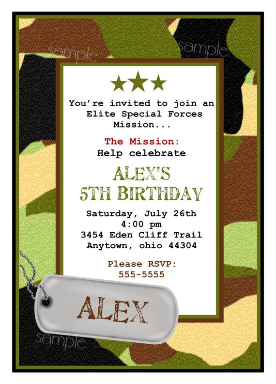 Boys Camo Birthday Invitations