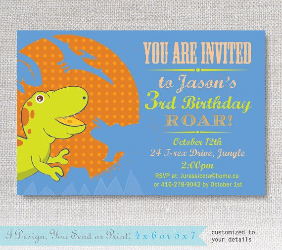 Boys Dinosaur Birthday Invitations Printable