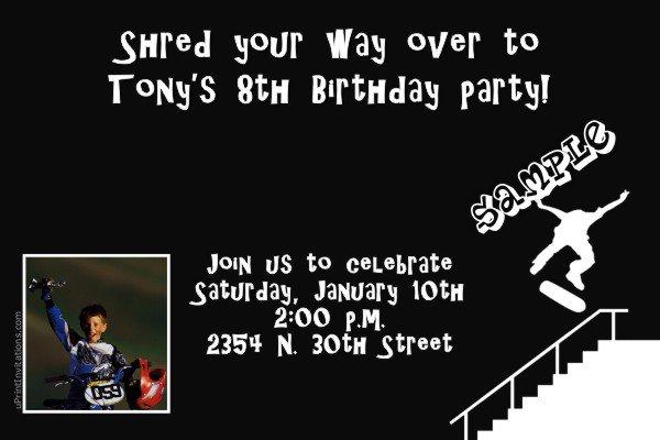 Boys Skateboard Birthday Invitations Printable