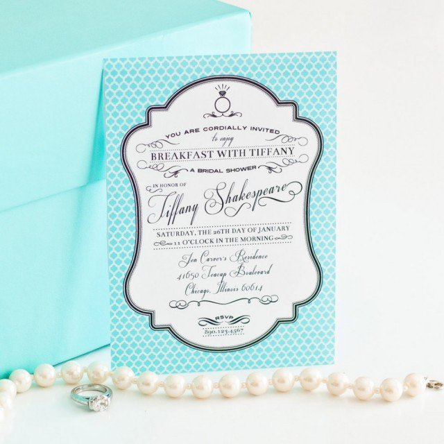 Breakfast At Tiffany Bridal Shower Invitations