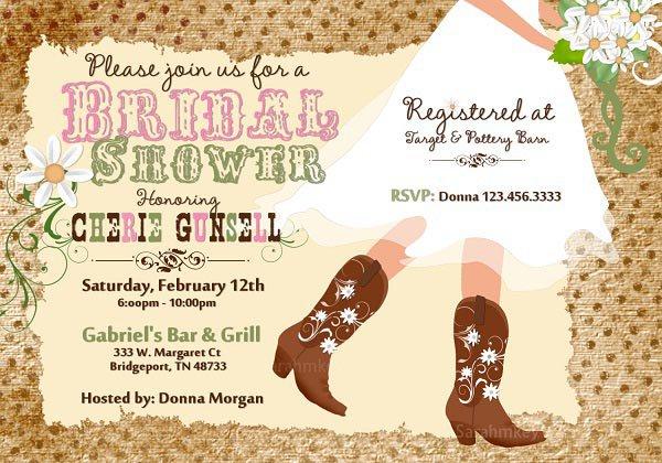 Bridal Shower Invitations Cowboy