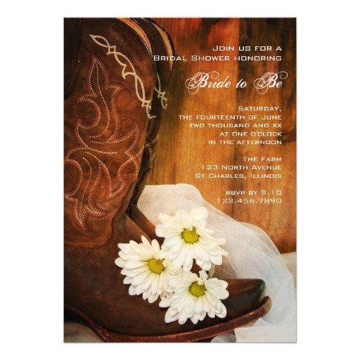 Bridal Shower Invitations Cowboy Boots