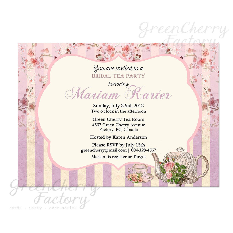 Bridal Tea Invitations Template