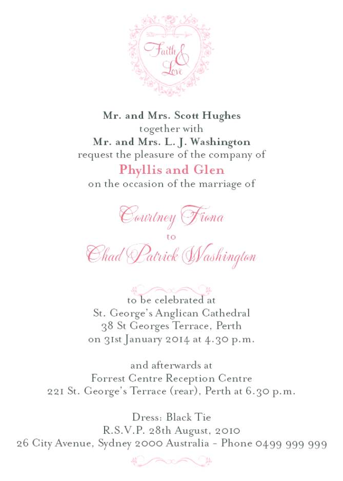 Bride And Groom Wedding Invitation Wording