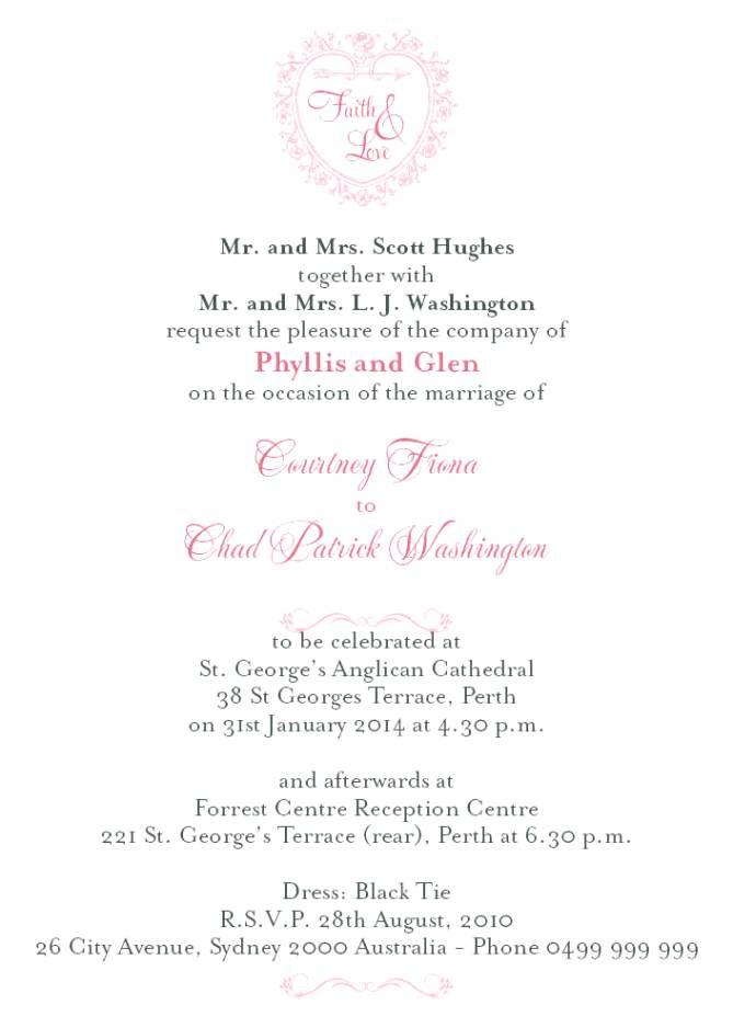 Bride And Groom Wedding Invitation Wording Arranged Marriage
