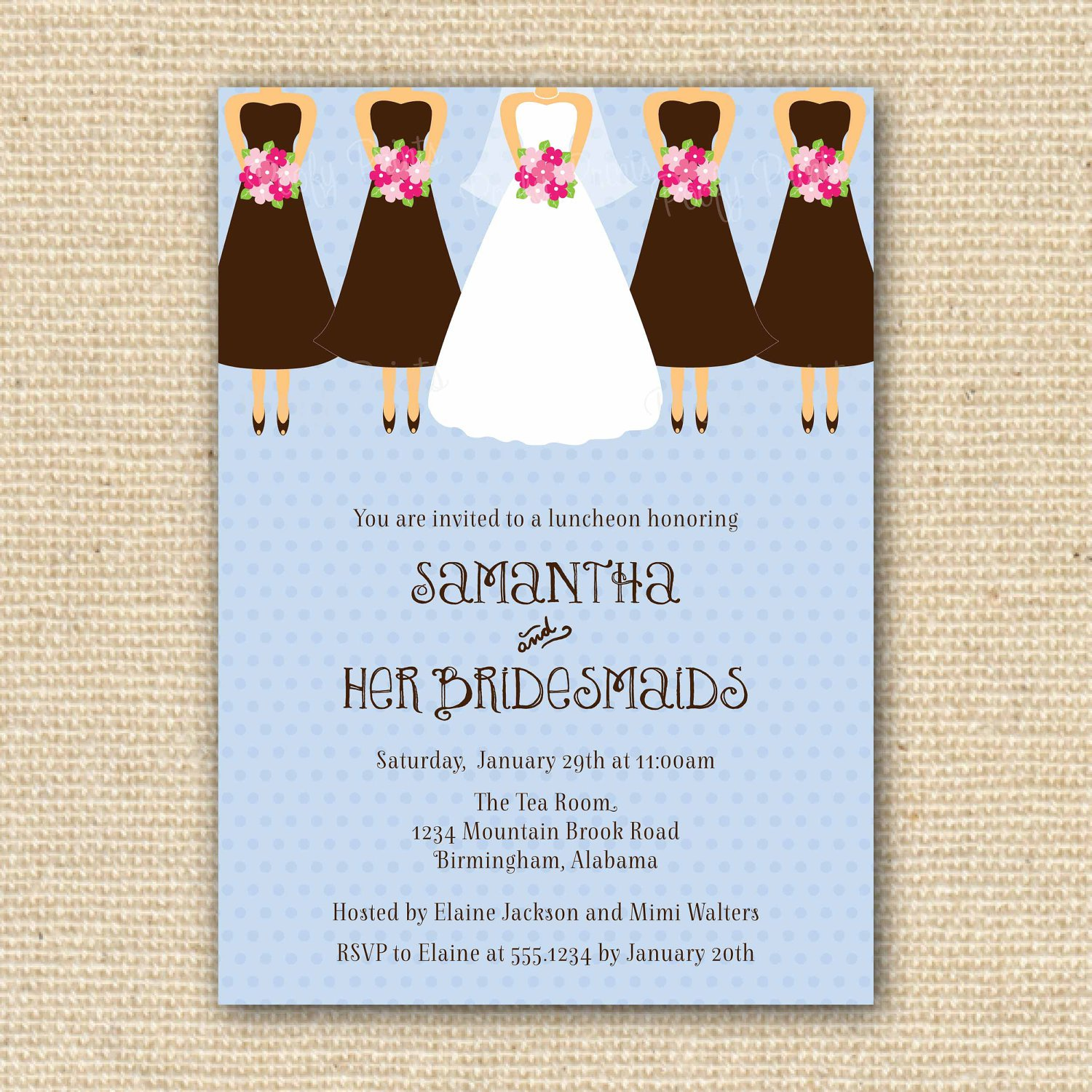 Bridesmaid Luncheon Invitations Hosted By Bride