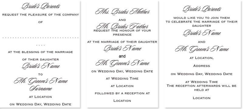 British Wedding Invitation Wording Etiquette