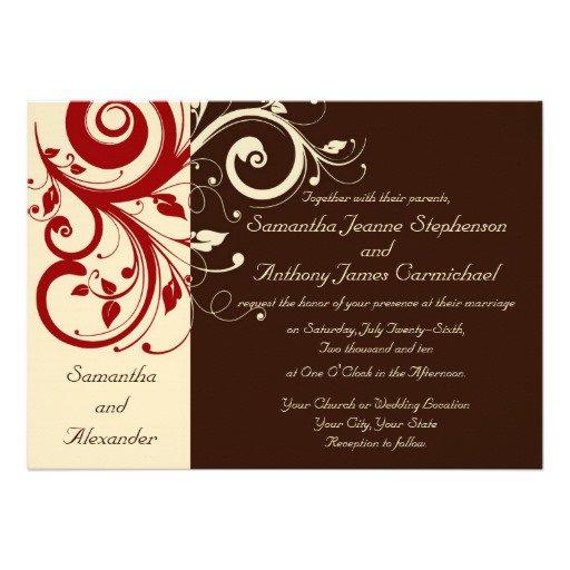 Brown And Cream Wedding Invitations
