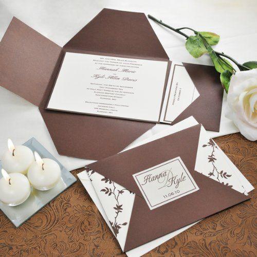 Brown And Ivory Vintage Wedding Invitations Kit