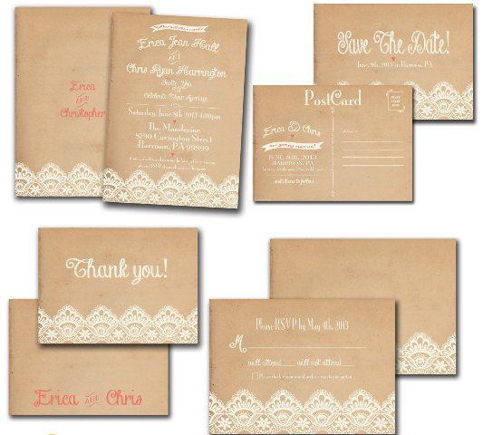 Brown Paper Wedding Invitations