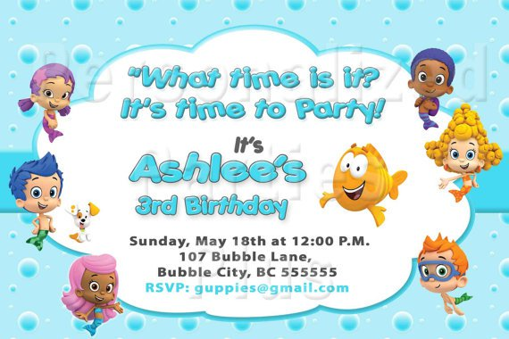 Bubble Guppies Invitations Background Only