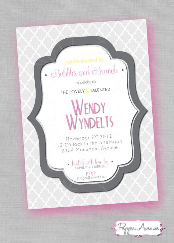 Bubbles And Brunch Bridal Shower Invitations