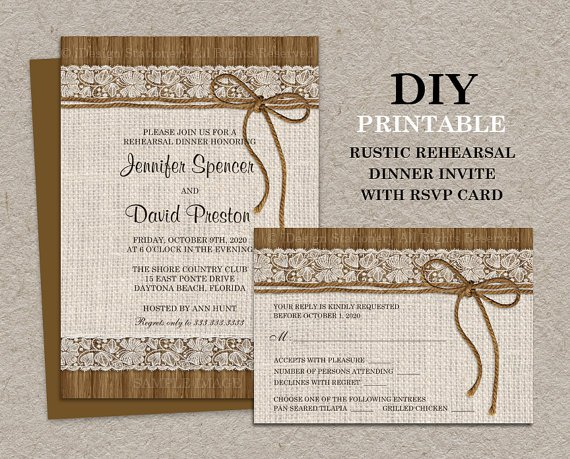 Burlap And Lace Rehearsal Dinner Invitations