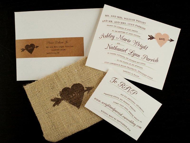 Burlap And Lace Wedding Invitations Kits
