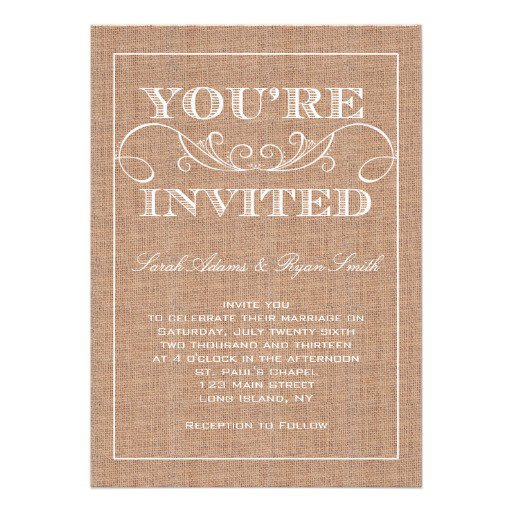 Burlap Wedding Invitations Free Printable