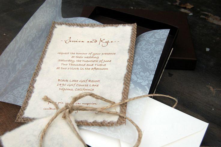 Burlap Wedding Invitations Vellum